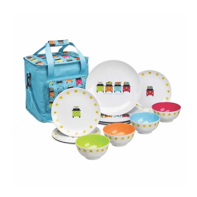 Camper Smiles Cool Bag and 12 piece dinning set